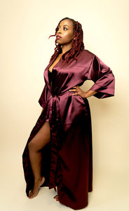 Valentina Long Satin Robe - Wine