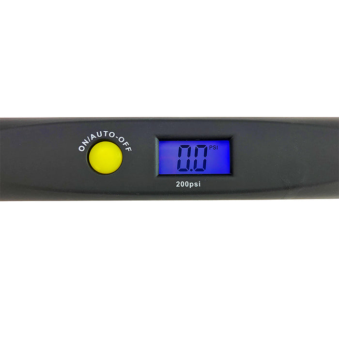 Haltec Chrome Digital Tire Gauge - 2-200 PSI Dual Foot Angled for Truck Tires