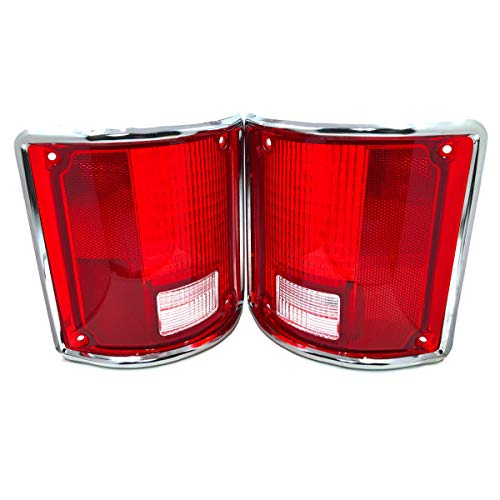 Left and Right Hand Chrome Trim Tail Light Lens Set that fits 1973-91 Chevy C10 Pick Up Truck by TYK Industries