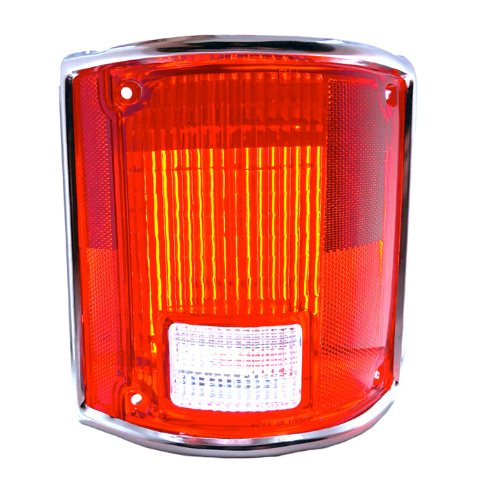 Right Hand Tail Light Lens for 1973-91 Chevy C10 Pickup Truck with Chrome Trim