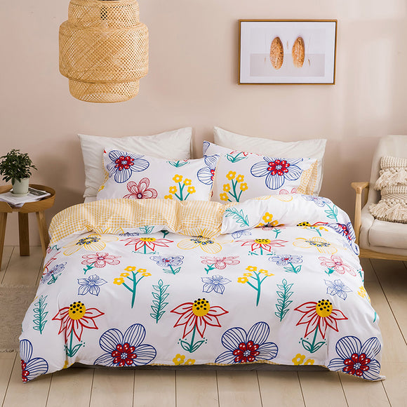 Flowers Stick Figure Duvet Cover Sets #LB048