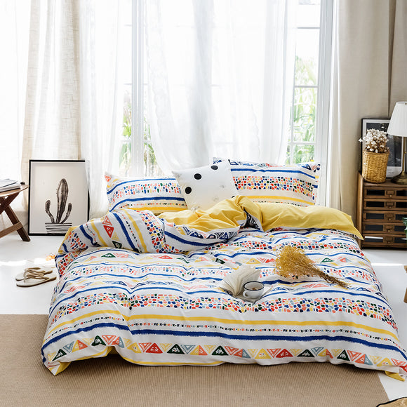 Colorful Dots Blocks Pure Cotton Duvet Cover Sets #LB033