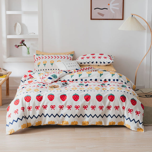 Strawberry Flowers Pure Cotton Kids Duvet Cover Sets #LB031