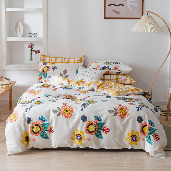 Sunflower Painting Pure Cotton Kids Duvet Cover Sets #LB035