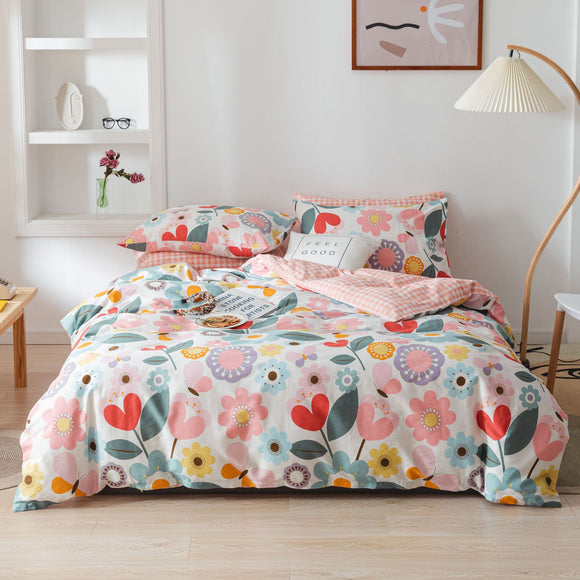 Pink Flowers Pure Cotton Kids Duvet Cover Sets #LB036