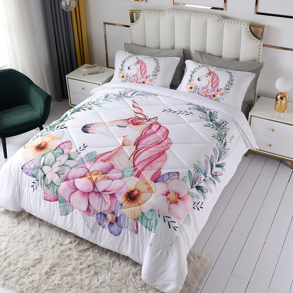 Unicorn Girl Duvet Sets Flowers & Rainbow #LB020