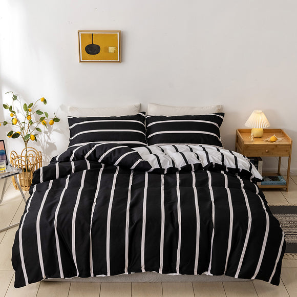 Black & White Stripes Duvet Cover SetsBlack & White Stripes Duvet Cover Sets #LB054