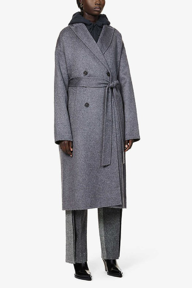 OWANNE DOUBLE-BREASTED BELTED WOOL AND ALPACA-BLEND COAT