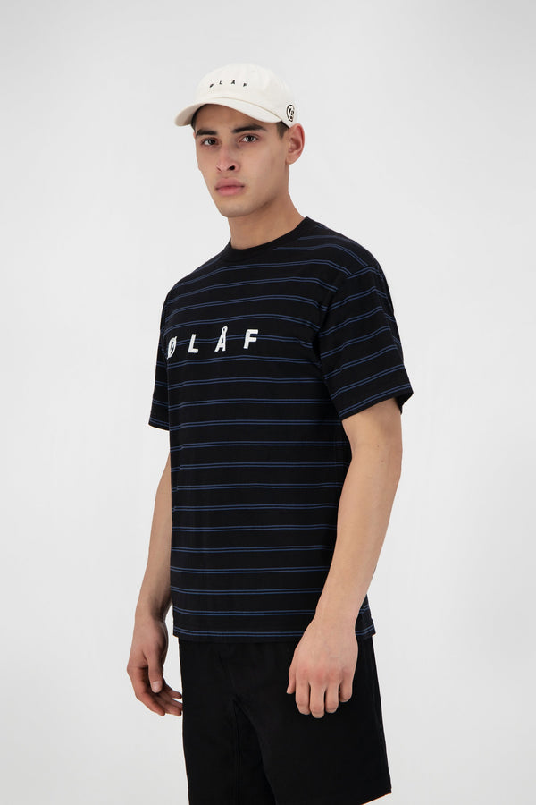 MINI STRIPE TEE BLACK / BLUE SLATE