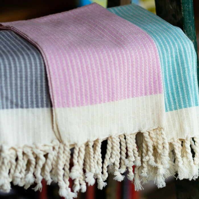 Balthazar & Rose Hand Towels: Candy Cane Strip Pink