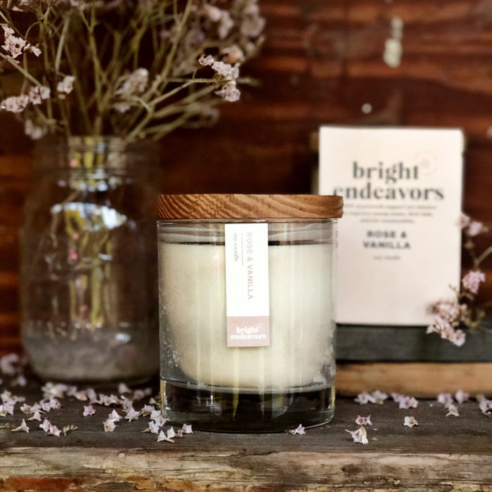 Bright Endeavors Candle: Rose & Vanilla