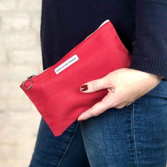Made Free Zipped Pouch: Red