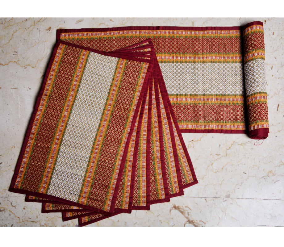 Madur Kathi Handloom Table mat with Runner - White with Red Borders -  ArtisanSoul