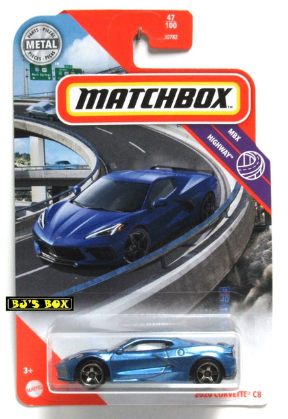 2020 Matchbox 2020 CORVETTE C8 Blue Mid-Engine Muscle Car #47/100 MBX Highway New