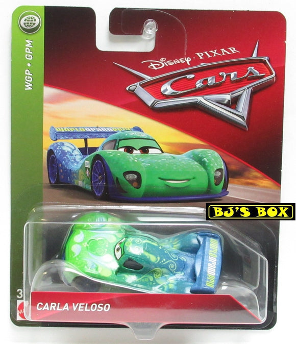 Disney Pixar Cars CARLA VELOSO WGP World Grand Prix Racer Green Blue New