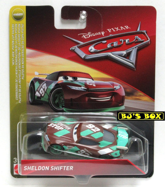Disney Pixar Cars SHELDON SHIFTER Next-Gen Piston Cup Racers Green Brown #92 New