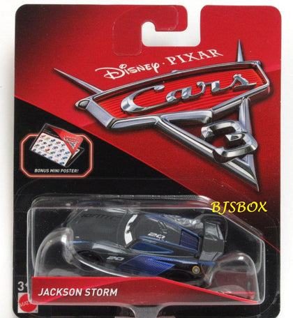 Disney Pixar Cars 3 JACKSON STORM Race Car New with Bonus Mini Poster Sealed