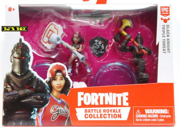 Fortnite BLACK KNIGHT & TRIPLE THREAT Battle Royale Collection 2 Pack Figures & Accessories New