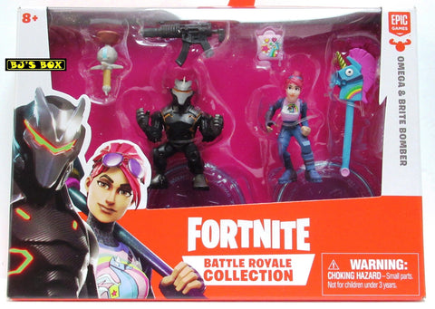 Fortnite OMEGA & BRITE BOMBER Battle Royale Collection 2 Pack Figures & Accessories New