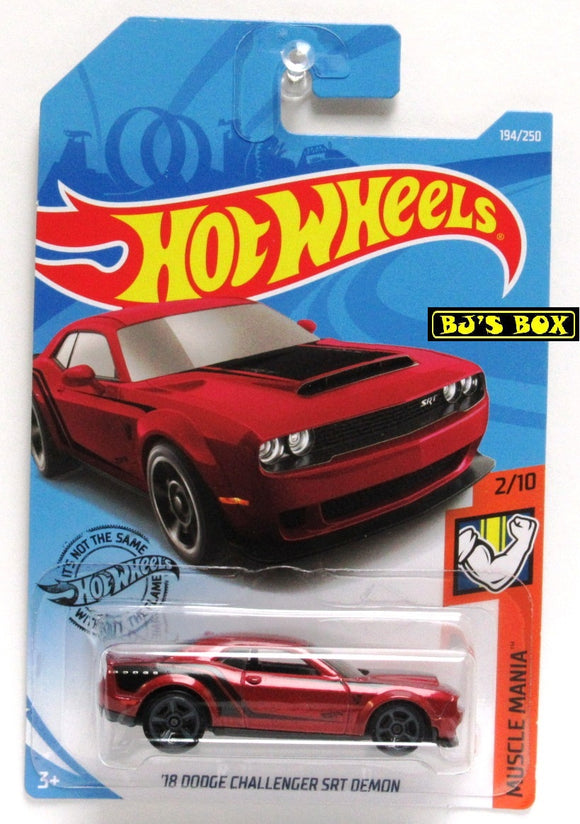 2019 Hot Wheels '18 DODGE CHALLENGER SRT DEMON Red 2/10 HW Muscle Mania 194/250 New