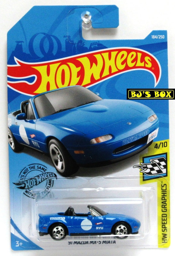 2019 Hot Wheels 91 MAZDA MX-5 MIATA #184/250 HW Speed Graphics 4/10 Blue New