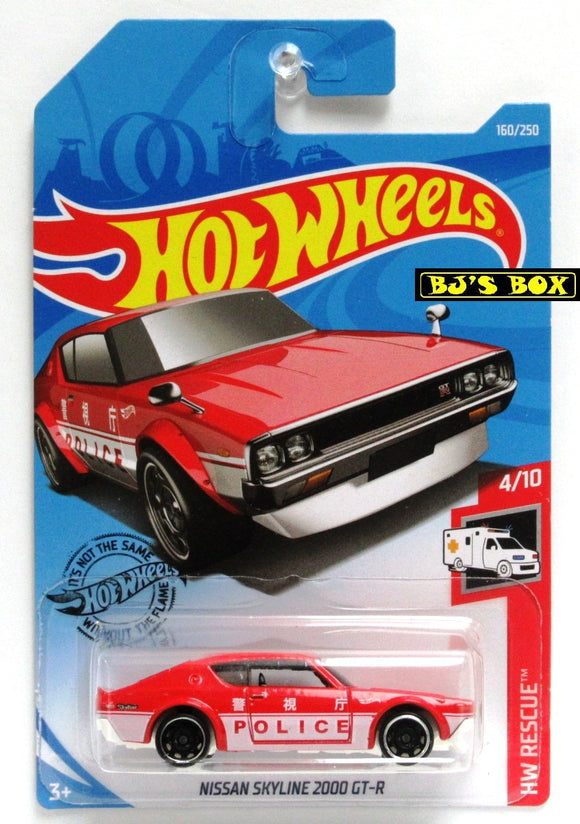 2019 Hot Wheels NISSAN SKYLINE 2000 GT-R #160/250 HW Rescue 4/10 Red Police New
