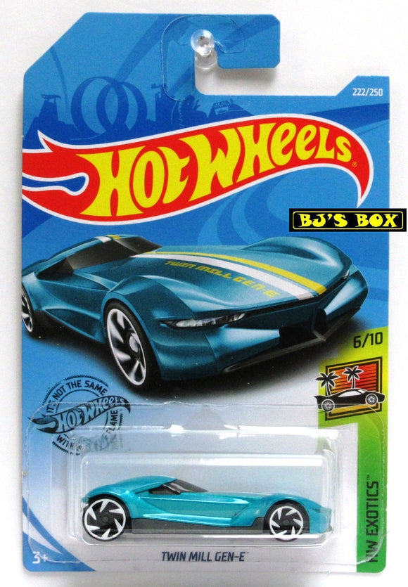 2019 Hot Wheels TWIN MILL GEN-E HW Exotics 6/10 Teal Blue Sports Car 222/250 New