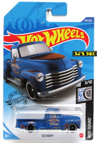 2020 Hot Wheels '52 CHEVY #201/250 Blue Patina Rod Squad 3/10 Pickup New