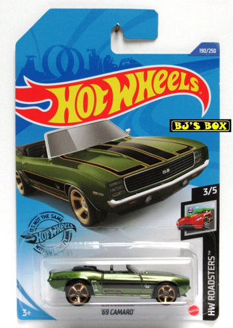 2020 Hot Wheels '69 CAMARO #190/250 Green, Black, Convertible HW Roadsters 3/5 New