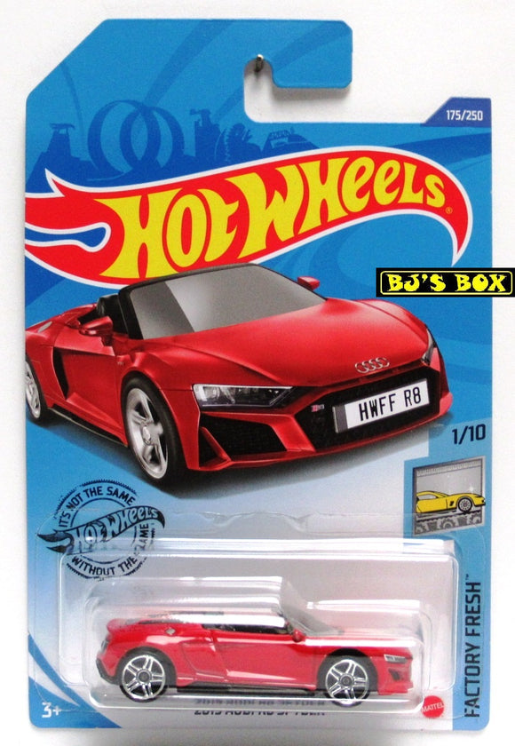 2020 Hot Wheels 2019 AUDI R8 SPYDER #175/250 Red Convertible Factory Fresh 1/10 New