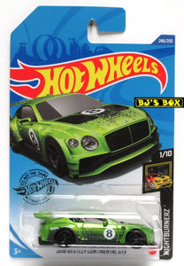 2020 Hot Wheels 2018 BENTLEY CONTINENTAL GT3 #246/250 Green Nightburnerz 1/10 New