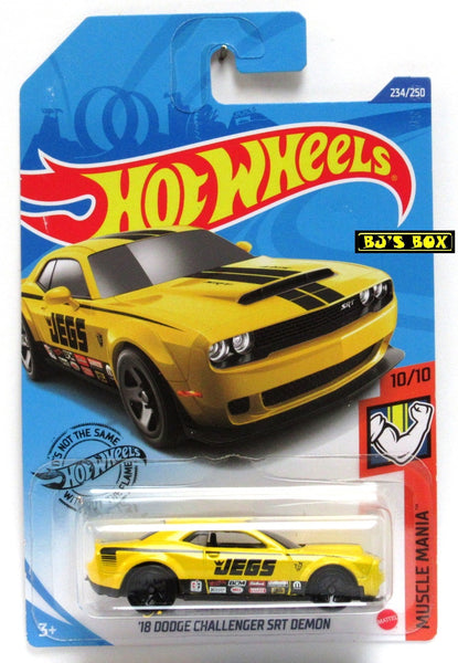 2020 Hot Wheels '18 DODGE CHALLENGER SRT DEMON #234/250 JEGS, Yellow, Muscle Mania 10/10 New