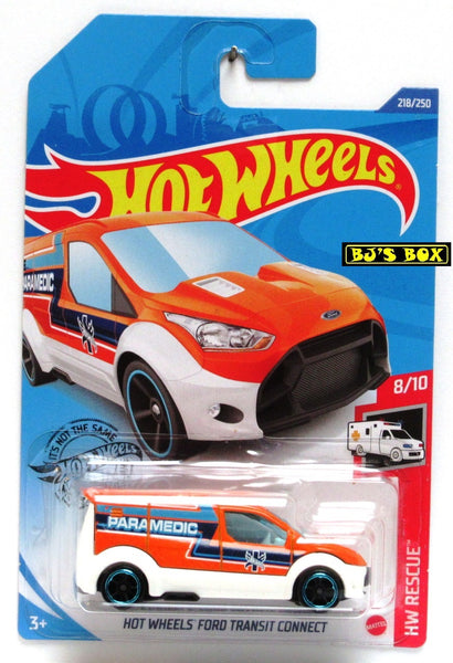 2020 Hot Wheels FORD TRANSIT CONNECT #218/250 Paramedic EMT Van HW Rescue 8/10 New