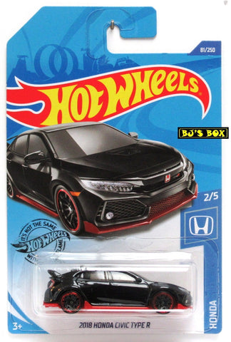 Hot Wheels 2020 2018 Honda Civic Type R 2/5 Honda Series Black 81/250 New