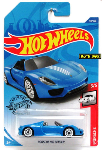 Hot Wheels 2020 PORSCHE 918 SPYDER 5/5 Porsche Blue Sports Car 94/250 New