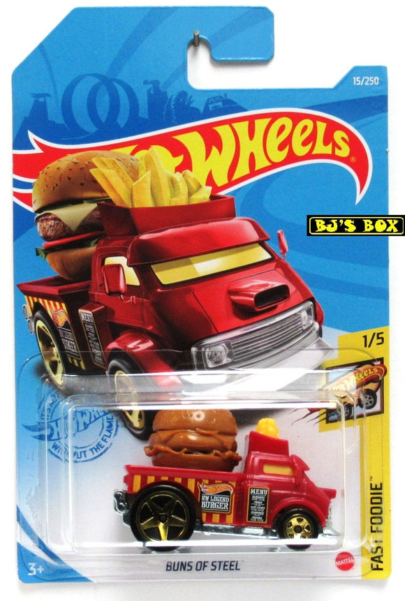 2021 Hot Wheels BUNS OF STEEL #15/250 Burger Fries Truck 1/5 Fast Foodie New