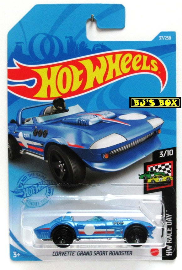 2021 Hot Wheels CORVETTE GRAND SPORT ROADSTER #37/250 Blue, Race Car 3/10 HW Race Day New