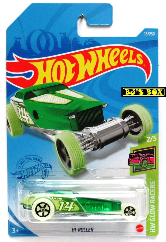 2021 Hot Wheels HI-ROLLER #18/250 Glow in the Dark #2/5 HW Glow Racers New