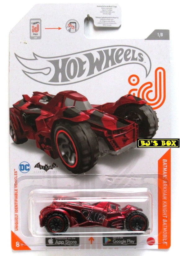 2021 Hot Wheels id BATMAN ARKHAM KNIGHT BATMOBILE #1/8 Red Chrome DC Comics New