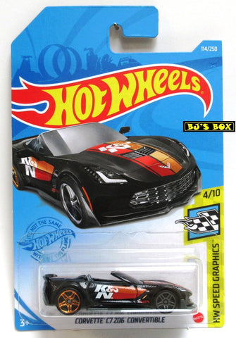2021 Hot Wheels CORVETTE C7 ZO6 CONVERTIBLE #114/250 Black K&N #4/10 HW Speed Graphics New
