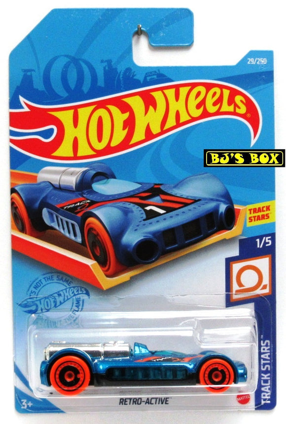 2021 Hot Wheels RETRO-ACTIVE #29/250 Blue, electric car #1/5 Track Stars New