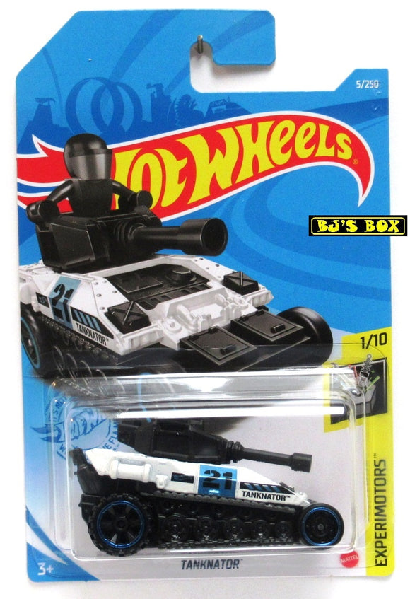 2021 Hot Wheels TANKNATOR #5/250 White Tank 1/10 HW Experimotors New