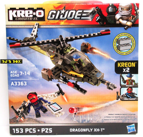 KRE-O Gi Joe DRAGONFLY XH-1 153 Pcs. Helicopter Create It Kreon Set #A3363 New