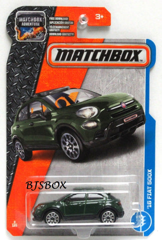 2017 Matchbox '16 FIAT 500X #3/125 Dark Green MBX Adventure City New