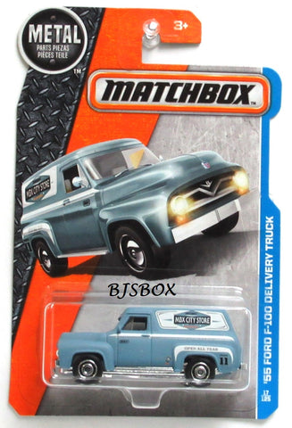 2017 Matchbox 55 FORD F-100 DELIVERY TRUCK #17/125 Blue Panel Van MBX Adventure City Rare New