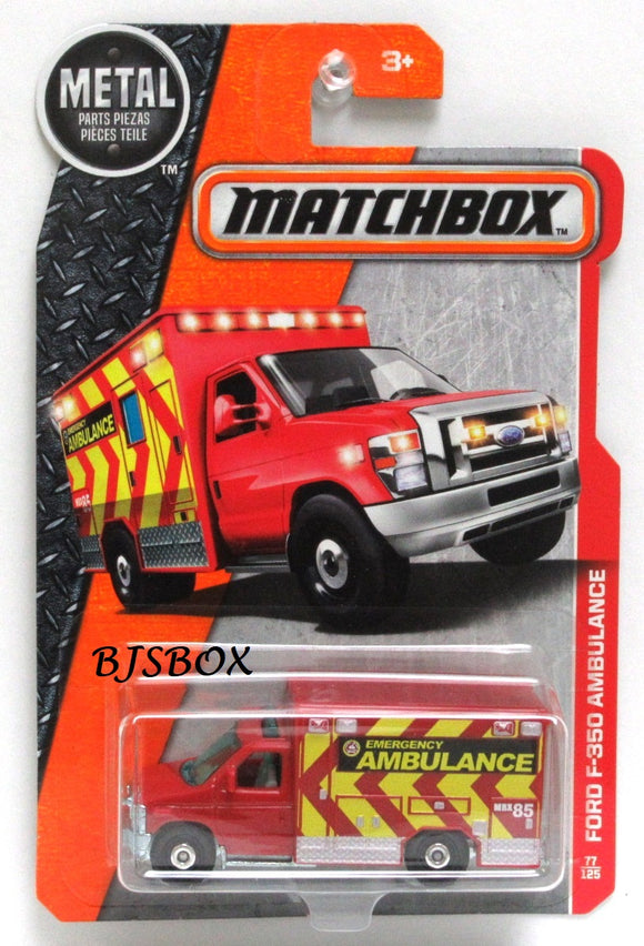 2017 Matchbox FORD F-350 AMBULANCE #77/125 Red Yellow Emergency Vehicle New