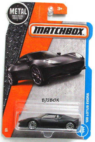 2017 Matchbox '08 LOTUS EVORA #20/125 Carbon Black Matte MBX Adventure City Rare New