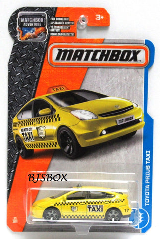2017 Matchbox TOYOTA PRIUS TAXI #15/125 Yellow Hybrid Taxi Cab MBX Adventure City New