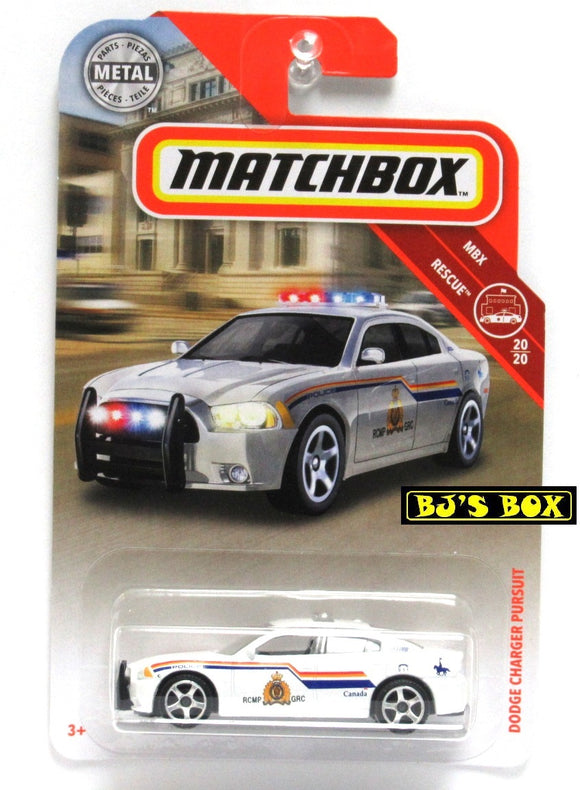 2019 Matchbox DODGE CHARGER PURSUIT #49 MBX Rescue 20/20 RCMP White Police Cruiser Rare New