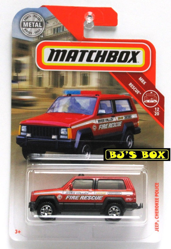 2019 Matchbox JEEP CHEROKEE POLICE #51 Red Fire Rescue 12/20 MBX Rescue New